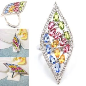 Jewelry - Sterling Silver.925 Multi Gemstones Ring